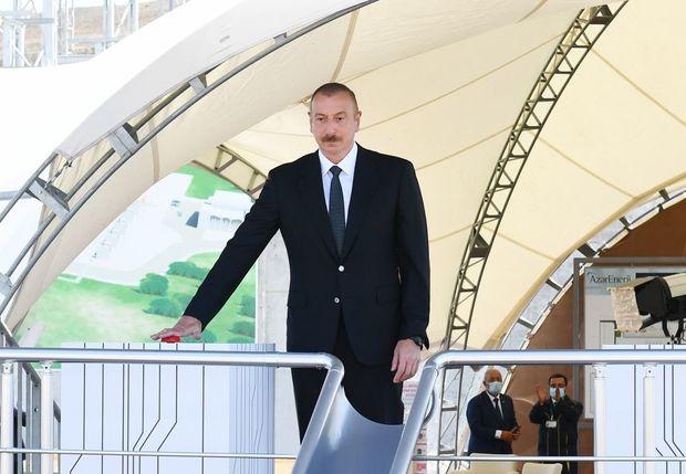 """Prezident """"Qobu"""" elektrik yarımstansiyasının tikintisi ilə tanış olub - FOTO"""