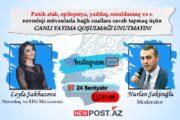 DİQQƏT: Tanınmış nevroloq həkim Leyla Şahbazova izləyicilərin suallarını instagramda canlı olaraq cavablandıracaq
